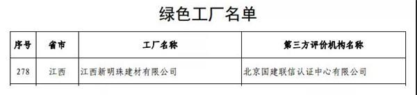 """定了!江西新明珠上榜""""绿色工厂"""",新明珠成行业唯一拥有三家""""绿色工厂""""企业"""